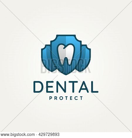 Dental Clinic With Tooth And Shield Protection Minimalist Flat Logo Icon Template Vector Illustratio