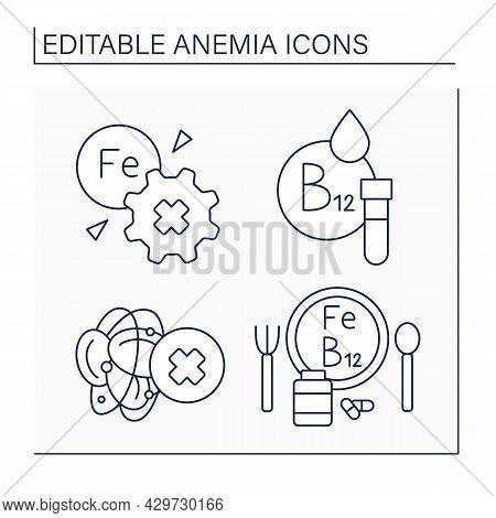 Anemia Line Icons Set. Inability To Absorb Iron. Vitamin B-12 Testing, Blood Hemophilia, Diet. Healt