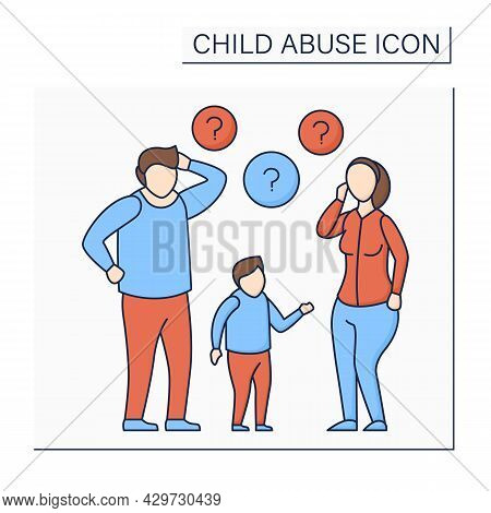 Lack Of Parenting Skills Color Icon. Unrealistic Expectations About Kid Care. Experience Lack.child