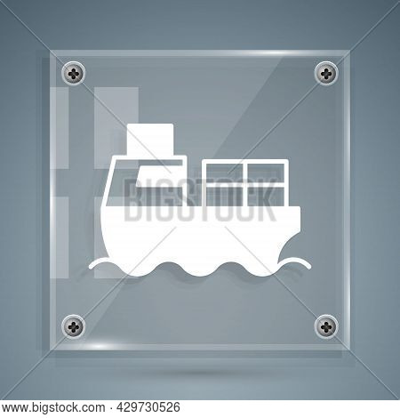 White Cargo Ship With Boxes Delivery Service Icon Isolated On Grey Background. Delivery, Transportat