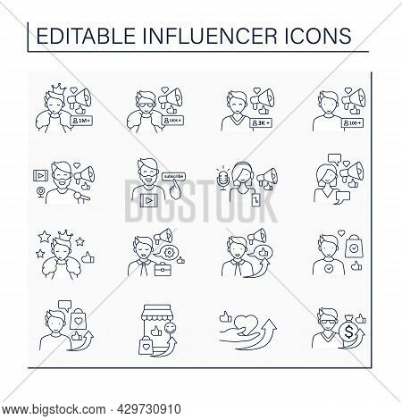 Influencer Line Icons Set. Share Information, Knowledge, Thoughts On Audiences. Influencer Advertisi