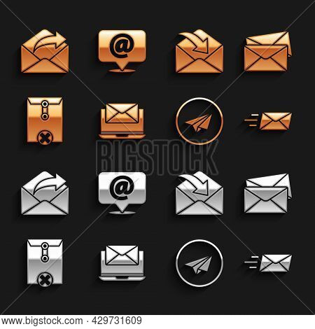 Set Laptop With Envelope, Envelope, Express, Paper Plane, Delete, Outgoing Mail And Mail And E-mail