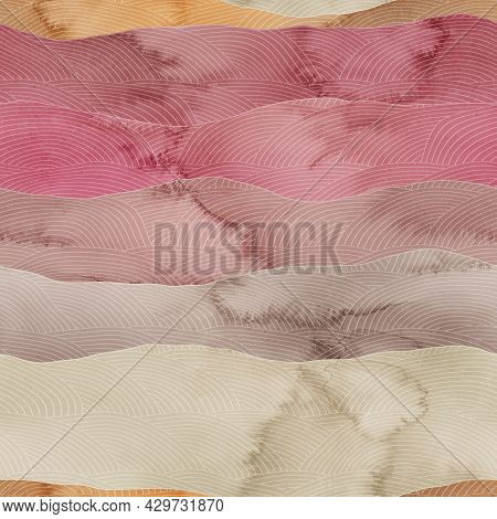 Seamless Chic Colorful Pattern Of Patterned Hills In Watercolor.