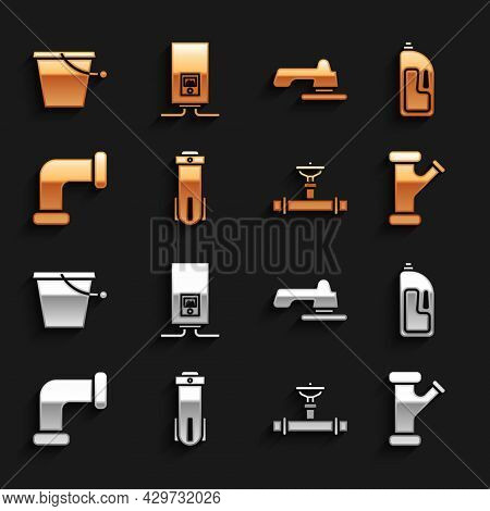 Set Water Filter, Container With Drain Cleaner, Industry Metallic Pipe, And Valve, Tap, Bucket And G