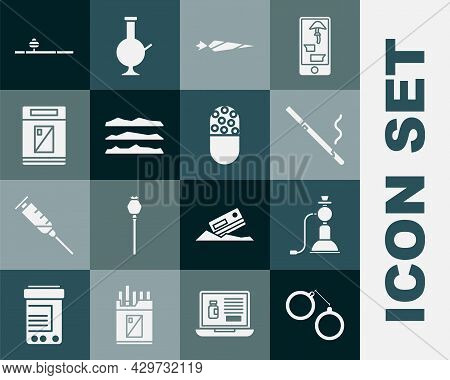 Set Handcuffs, Hookah, Cigarette, Marijuana Joint, Cocaine Or Heroin Drug, Cigarettes Pack Box, Opiu