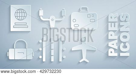 Set Airport Runway, Suitcase, Plane, Aircraft Steering Helm And Passport Icon. Vector