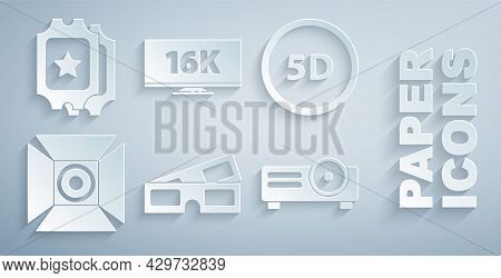 Set 3d Cinema Glasses, 5d Virtual Reality, Movie Spotlight, Movie, Film, Media Projector, Screen Tv