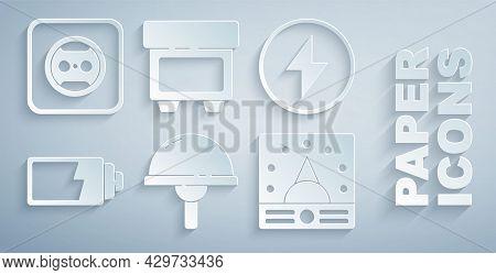 Set Light Emitting Diode, Lightning Bolt, Battery Charge Level Indicator, Ampere Meter, Multimeter,