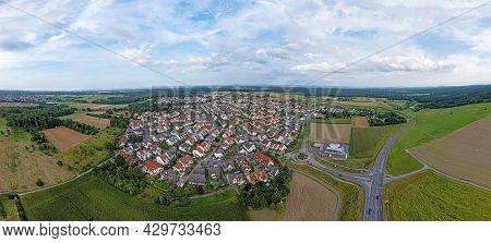 Drone Panorama Over German Southern Hessian Settlement Offenthal Near Darmstadt In Evening Light