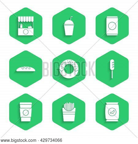 Set Donut, Potatoes French Fries In Box, Bag Or Packet Potato Chips, Fried Sausage, Coffee Cup Go, B