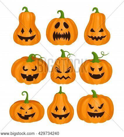 Pumpkin Helloween Scary Faces Set, Monster Pumpkins, Jack Lantern For Halloween Party