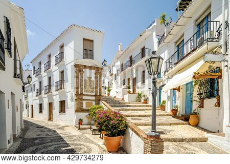 Picturesque Town Of Frigiliana Located In Mountainous Region Of Malaga, Andalusia, Spain