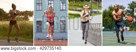 Professional Athletes And Amateurs. Collage About Fit Men And Women At Fitness Training Outdoors. Sp