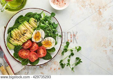 Avocado, Cherry Tomato, Spinach And Chicken Egg, Microgreens Peas And Black Sesame Seeds Fresh Salad