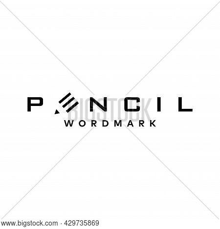 Clean And Unique Wordmark Logo About Pencil. Eps 10, Vector.