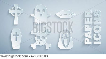 Set Skull On Crossbones, Vampire Teeth, Coffin With, Funny And Scary Ghost Mask, Ghost And Tombstone