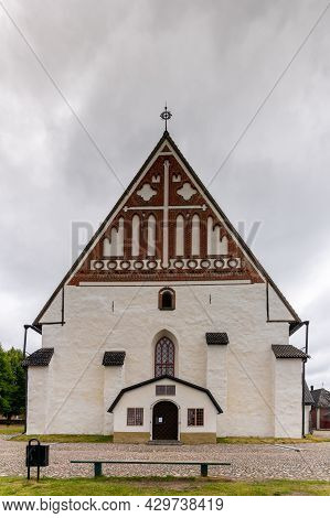 Porvoo, Finland - 3 August, 2021: View Of The Cathedral In The Old Town Of Porvoo In Southern Finlan