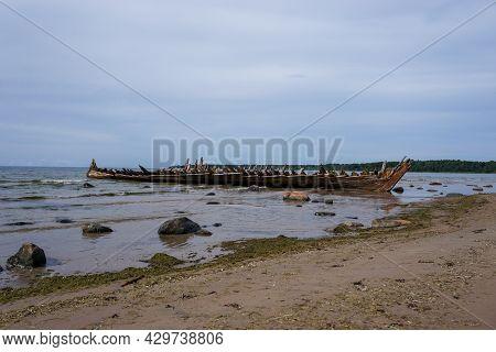 Loksa, Estonia - 8 August, 2021: View Of The Raketa Shipwreck In The Gulf Of Finland On The Coast Of