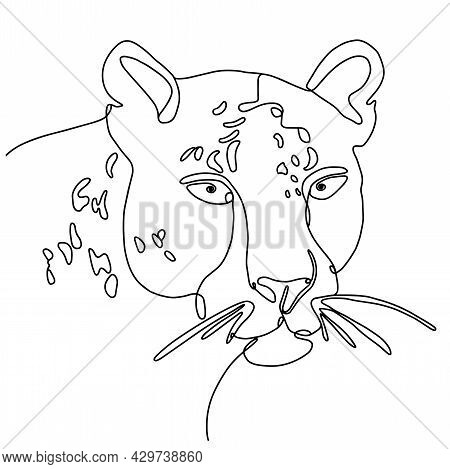 Carnivore Head One Line Drawing. Linear Face Of A Wild Cat. Line Art Portrait Of Leopard, Hand-drawn
