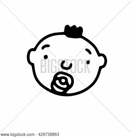 Doodle Baby With Pacifier Face. Hand-drawn Little Child Isolated On White Background. Human Avatar.