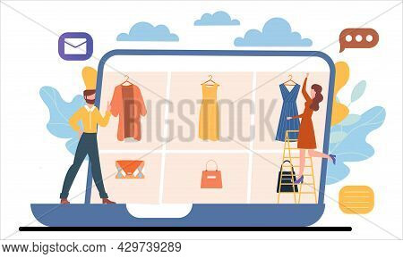 Male And Female Characters Are Shopping Online Together On Laptop. Computer, Shop Shelves, Boxes. Co