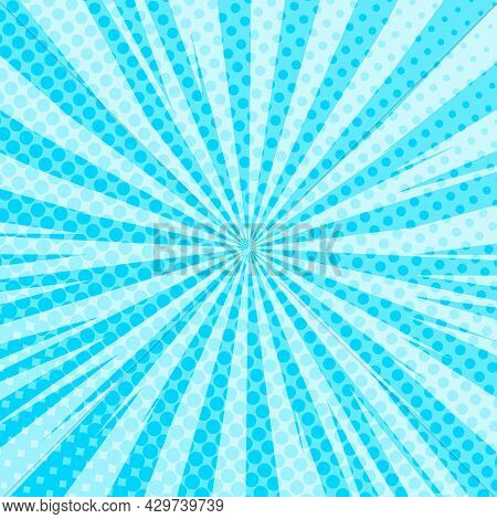 Pop Art Radial Colorful Comics Book Magazine Cover. Striped Blue Digital Background. Cartoon Funny R