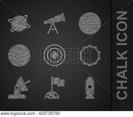 Set Solar System, Moon With Flag, Rocket Ship, Sun, Satellite Dish, Planet, And Satellites Orbiting