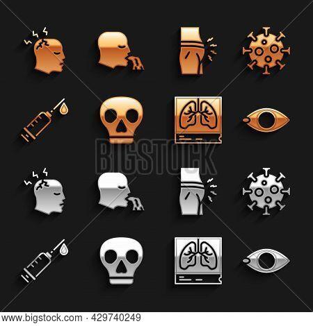 Set Skull, Virus, Blindness, Lungs X-ray, Syringe, Abdominal Bloating, Man Having Headache And Vomit
