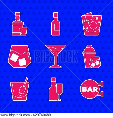 Set Martini Glass, Wine Bottle With, Street Signboard Bar, Cocktail Shaker, Bloody Mary, Glass Of Wh