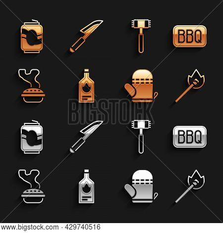 Set Tabasco Sauce, Barbecue, Burning Match With Fire, Oven Glove, Homemade Pie, Kitchen Hammer, Soda