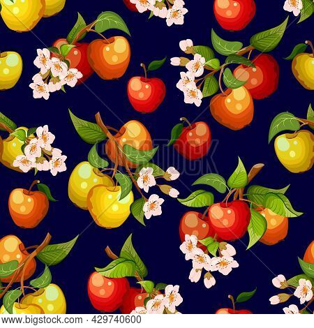 Branches With Apples In The Illustration.branches With Flowers And Ripe Apples On A Colored Backgrou