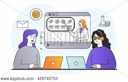 Smiling Female Character Are Studying Online Together On Laptops. Students Looking On Computer Scree