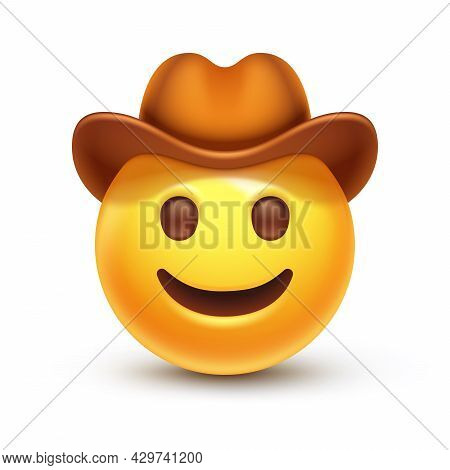 Happy Smiled Emoticon With Brown Leather Brimmed Hat 3d Stylized Vector Icon