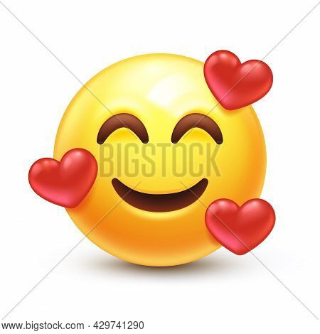 Smiling Emoticon With Three Hearts 3d Stylized Vector Icon