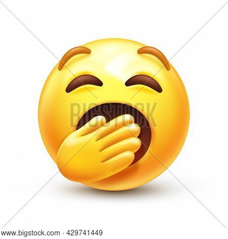 Bored Or Sleepy Emoticon, Yellow Boredom Face With Mouth Covered By Hand 3d Stylized Vector Icon