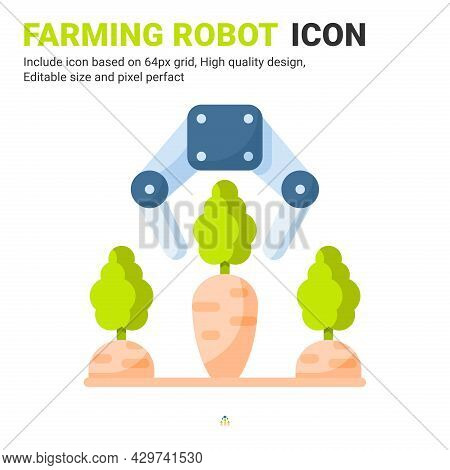 Farming Robot Icon Vector With Flat Color Style Isolated On White Background. Vector Illustration Ro