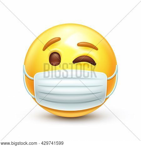 Winking Emoticon Yellow Face Wearing Surgical Mask To Avoid Sickness 3d Stylized Vector Icon