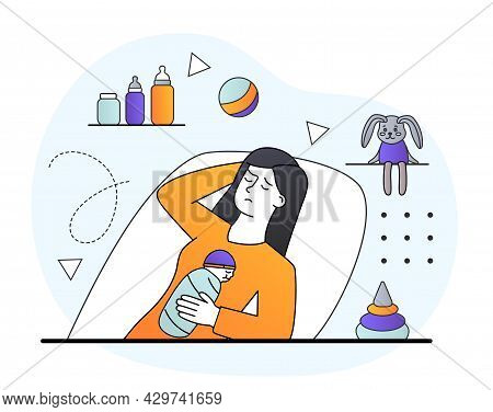 Tired Female Character With Postnatal Depression Laying Down In Hospital With Baby. Concept Of Peopl