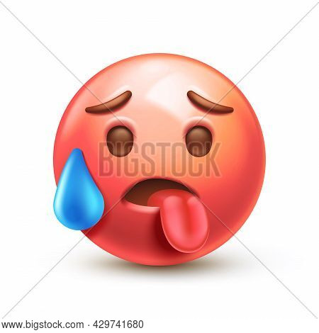 Overheated Emoticon, Red Face With Tongue Stuck Out 3d Stylized Vector Icon