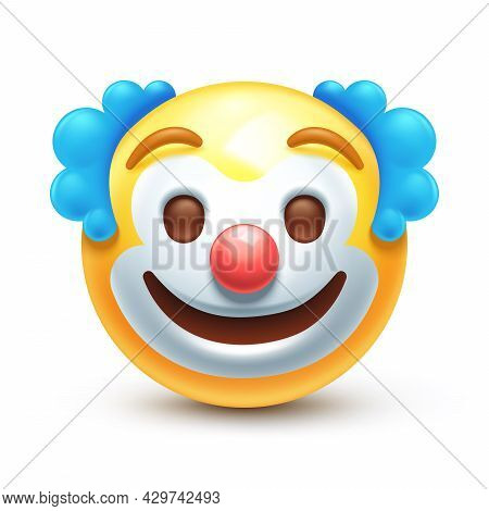 Emoticon With Red Nose, Funny Face 3d Stylized Vector Icon