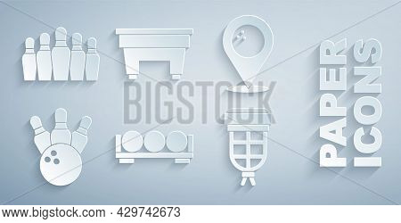 Set Billiard Balls On A Stand, Location With Bowling, Bowling Pin, Pocket, Table And Icon. Vector