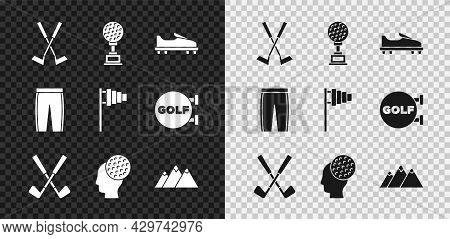 Set Crossed Golf Club, Award Cup With, Golf Shoe, Ball, Mountains, Pants And Flag Icon. Vector