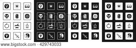 Set Ancient Magic Book, Magic Runes, Skull, Venus, Pentagram In Circle, Diamond, Burning Candle And