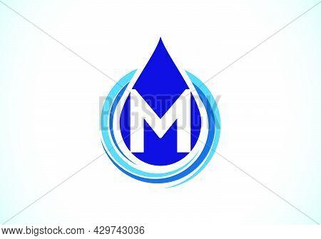 Initial M  Monogram Alphabet With Water Drop In A Spiral. Waterdrop Logo Design Vector Template. Fon