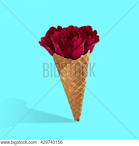 Contemporary Art Collage, Modern Design. Summertime Mood. Icecream Filled With Beautiful Red Roses O