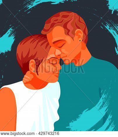 Boy And Girl Embrace Tenderly. Heterosexual Couple, Friends. Love, Family. Bright Vector Illustratio