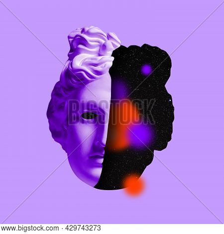 Contemporary Art Collage With Antique Statue Head In A Surreal Style. Modern Fantasy Art.