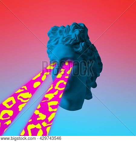 Modern Conceptual Art Poster With Ancient Statue. Contemporary Art Collage. Surrealism, Fantasy