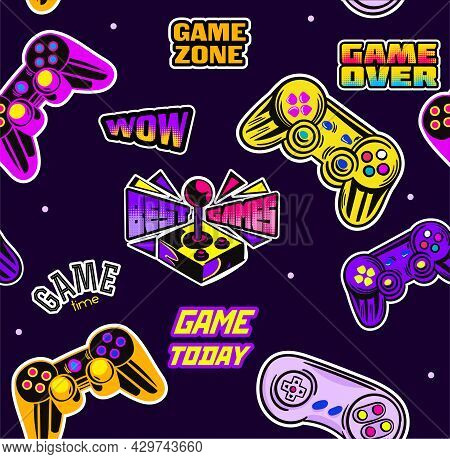 Cute Seamless Abstract Pattern In Pixel Game Style On Black Background. Colorful Gamer Template With