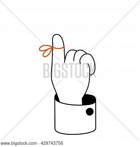 Reminder On Finger. Red String Around The Forefinger. Sketch Doodle Outline Black And White Cartoon